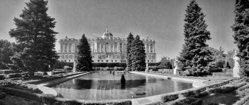 Palace in Madrid Spain from the Botanical Gardens