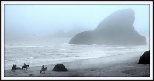 Oregon coast w horses on beach bernie