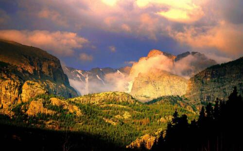 early morning sun rocky mountains bernie